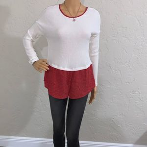Light Cream and Red Long Sleeves Casual Top